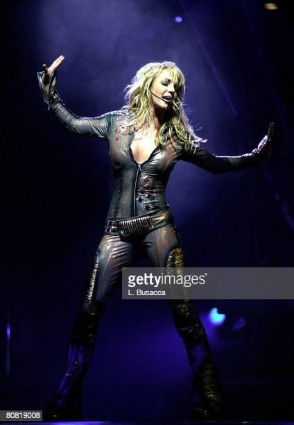 Singer Britney Spears performs at Nassau Coliseum on November 7, 2001 in Uniondale, New York.