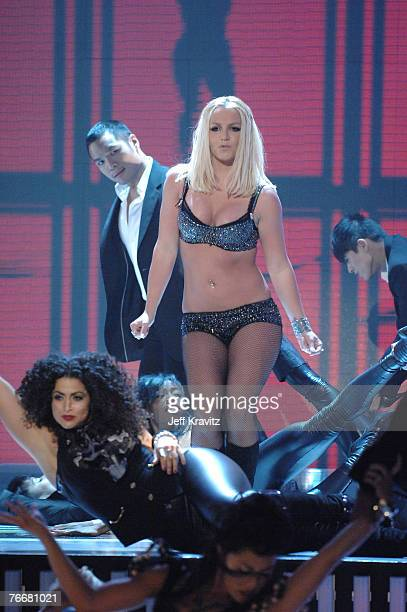 Singer Britney Spears performs at the 2007 MTV Video Music Awards at the Palms Casino Resort on September 9 2007 in LasVegas Nevada
