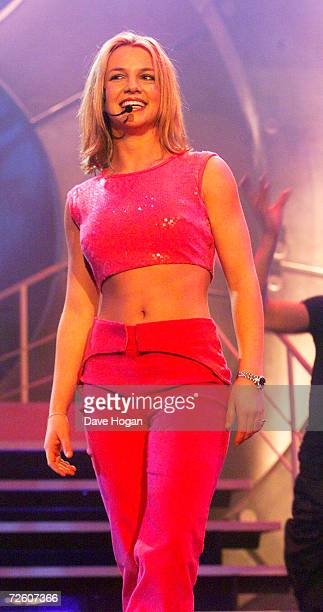 Singer Britney Spears performs at the Smash Hits Poll Winners Party 1999 held in the London ArenaLondonEngland on the 5th of December 1999