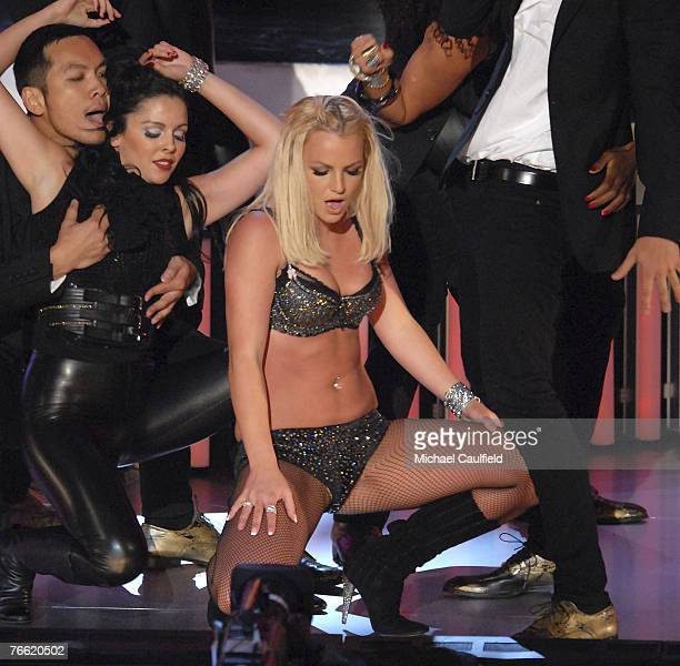Singer Britney Spears performs 'Gimme More' at the 2007 Video Music Awards at the Palms Casino Resort on August 9 2007 in Las Vegas Nevada
