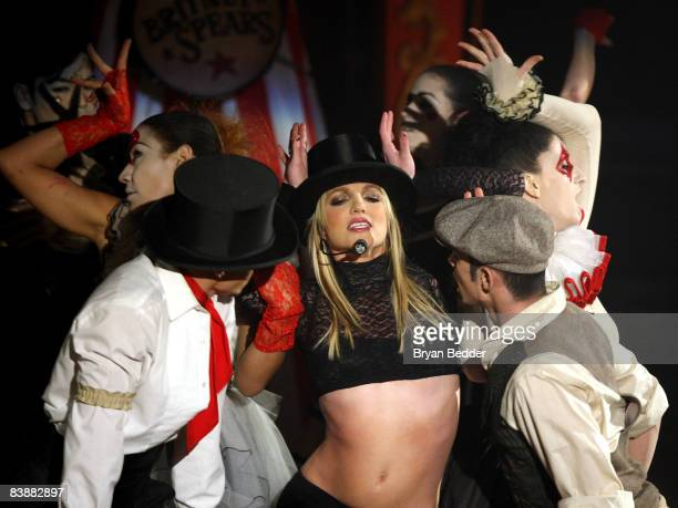 Singer Britney Spears performs on ABC's Good Morning America at The Big Apple Circus tent at Lincoln Center on December 2 2008 in New York City