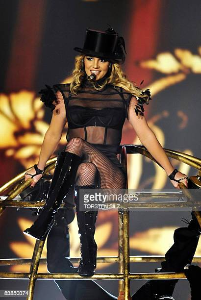 US singer Britney Spears performs on stage before being awarded with a Bambi category pop international during the 60th edition of the Bambi media...