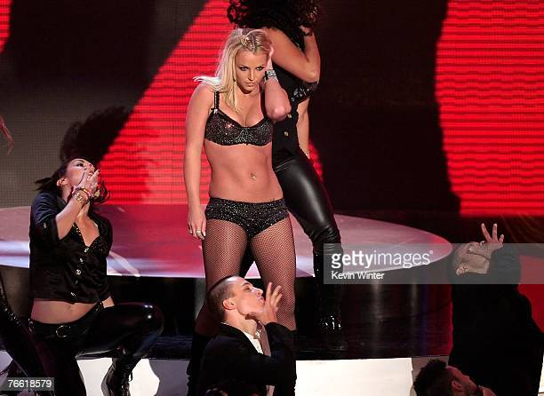 Singer Britney Spears performs on stage during the 2007 MTV Video Music Awards held at The Palms Hotel and Casino on September 9 2007 in Las Vegas...