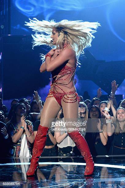 Singer Britney Spears performs onstage during the 2016 Billboard Music Awards at TMobile Arena on May 22 2016 in Las Vegas Nevada