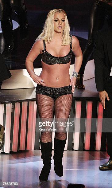 Singer Britney Spears performs onstage during the MTV Video Music Awards at The Palms Hotel and Casino on September 9 2007 in Las Vegas Nevada