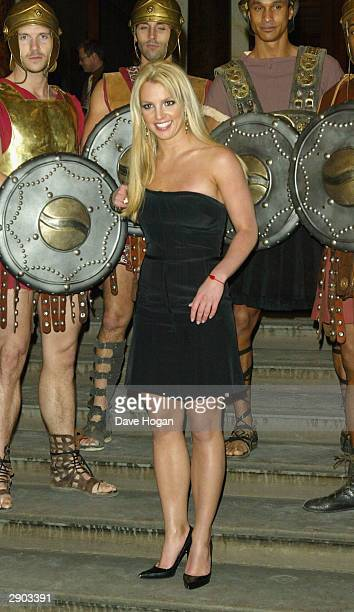 Singer Britney Spears poses at the 'blue carpet' launch of Pepsi's new TV commecial at the National Gallery on January 26 2004 in London The...