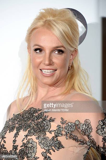 Singer Britney Spears poses in the press room at The 40th Annual People's Choice Awards at Nokia Theatre LA Live on January 8 2014 in Los Angeles...