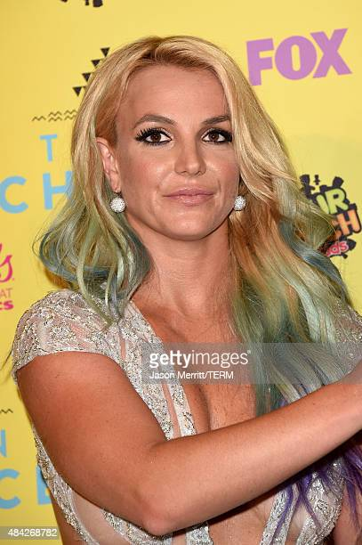 Singer Britney Spears poses in the press room during the Teen Choice Awards 2015 at the USC Galen Center on August 16 2015 in Los Angeles California