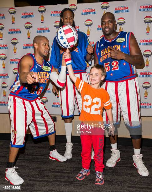 Singer Britney Spears son Jayden James Federline with Harlem Globetrotters Scooter , Stretch and Big Easy at Staples Center on February 16, 2014 in...