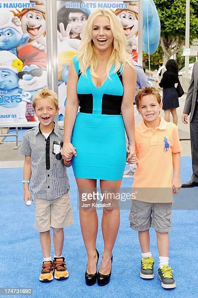 """Singer Britney Spears, son Sean Federline and son Jayden Federline arrive at the Los Angeles Premiere """"Smurfs 2"""" at Regency Village Theatre on July..."""