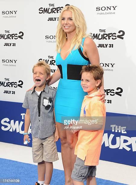 Singer Britney Spears son Sean Federline and son Jayden Federline arrive at the Los Angeles Premiere Smurfs 2 at Regency Village Theatre on July 28...