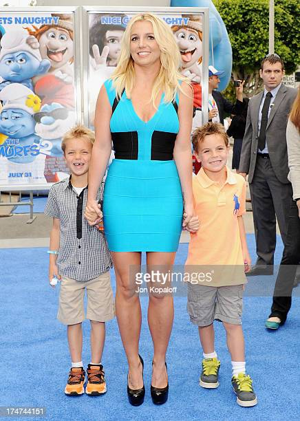 Singer Britney Spears son Sean Federline and son Jayden Federline arrive at the Los Angeles Premiere Smurfs 2 at Regency Village Theatre on July 28...
