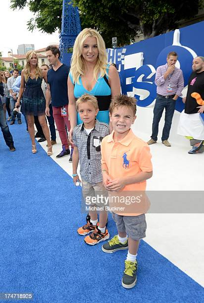 Singer Britney Spears sons Sean Federline and Jayden James Federline attend the Los Angeles premiere of The Smurfs 2 at Regency Village Theatre on...