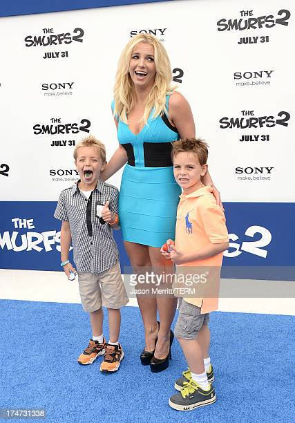 Singer Britney Spears sons Sean Federline and Jayden James Federline attend the premiere of Columbia Pictures' 'Smurfs 2' at Regency Village Theatre...