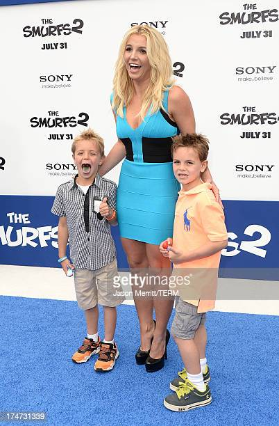 Singer Britney Spears , sons Sean Federline, and Jayden James Federline attend the premiere of Columbia Pictures' 'Smurfs 2' at Regency Village...