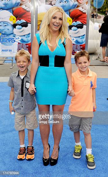 Singer Britney Spears sons Sean Federline and Jayden James Federline arrive at the Los Angeles premiere of Smurfs 2 at Regency Village Theatre on...