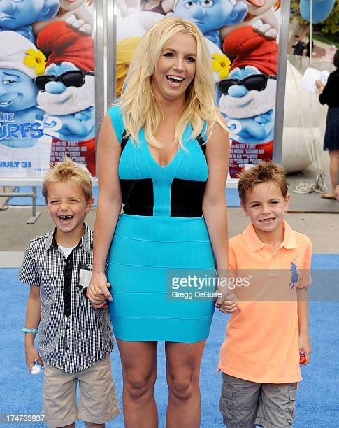 """Singer Britney Spears, sons Sean Federline and Jayden James Federline arrive at the Los Angeles premiere of """"Smurfs 2"""" at Regency Village Theatre on..."""