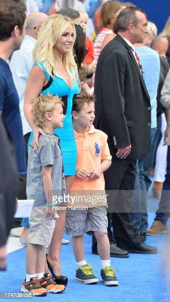 Singer Britney Spears sons Sean Federline and Jayden James Federline attend the premiere of Columbia Pictures' 'Smurfs 2' at Regency Village Theatre...
