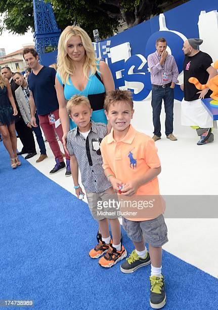 "Singer Britney Spears , sons Sean Federline and Jayden James Federline attend the Los Angeles premiere of ""The Smurfs 2"" at Regency Village Theatre..."