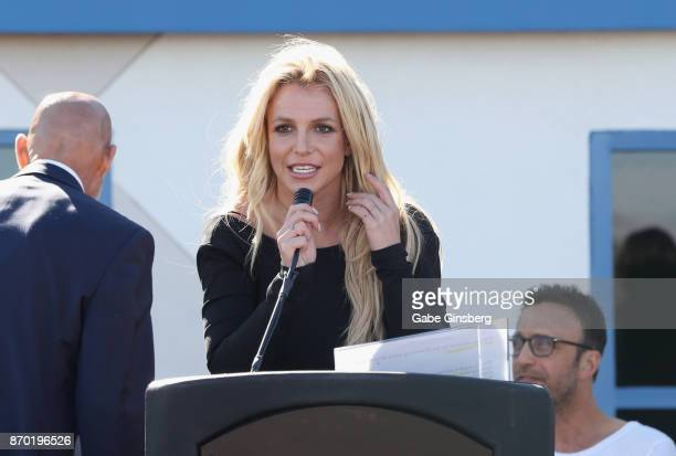 Singer Britney Spears speaks during the grand opening of the Nevada Childhood Cancer Foundation Britney Spears Campus on November 4 2017 in Las Vegas...