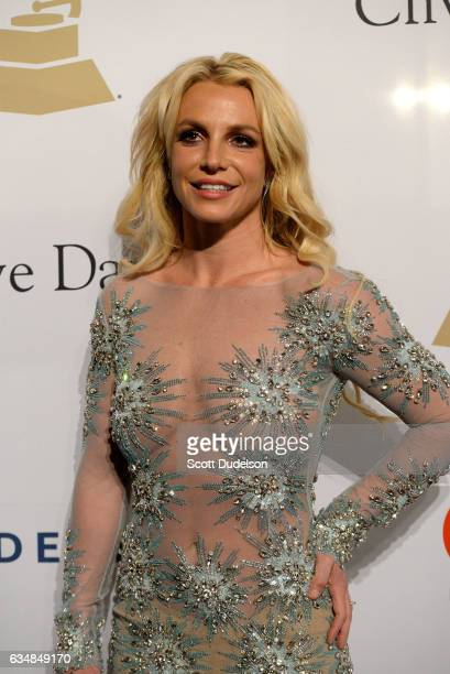 Singer Britney Spears walks the red carpet at the 2017 PreGRAMMY Gala And Salute to Industry Icons Honoring Debra Lee at The Beverly Hilton Hotel on...