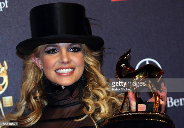 Singer Britney Spears winner of bambi award poses with the trophy at the Bambi Awards 2008 on November 27 2008 in Offenburg Germany