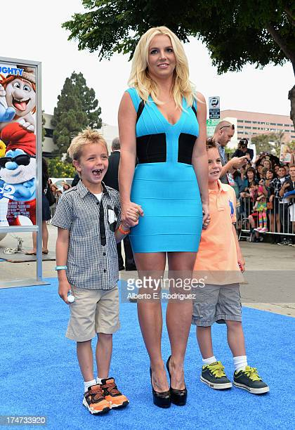 Singer Britney Spears with sons Jayden Federline and Sean Federline attend the premiere Of Columbia Pictures' Smurfs 2 at Regency Village Theatre on...