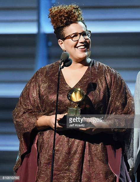 Singer Brittany Howard of Alabama Shakes accepts the award for Best Rock Performance for Don't Wanna Fight onstage during The 58th GRAMMY Awards at...
