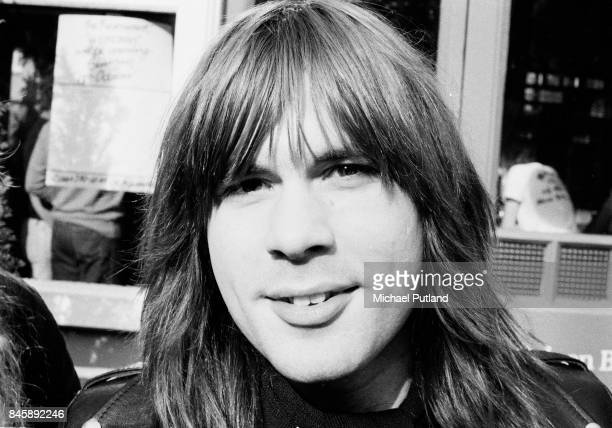 Singer Bruce Dickinson of English heavy metal group Iron Maiden outside the Island Queen pub in Islington London 1982
