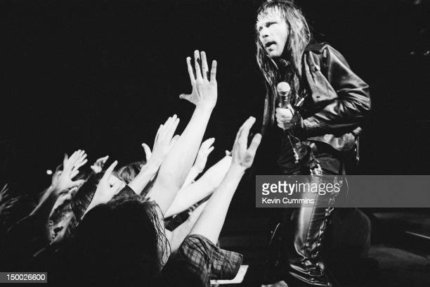 Singer Bruce Dickinson performing with British heavy metal group Iron Maiden Ireland June 1992