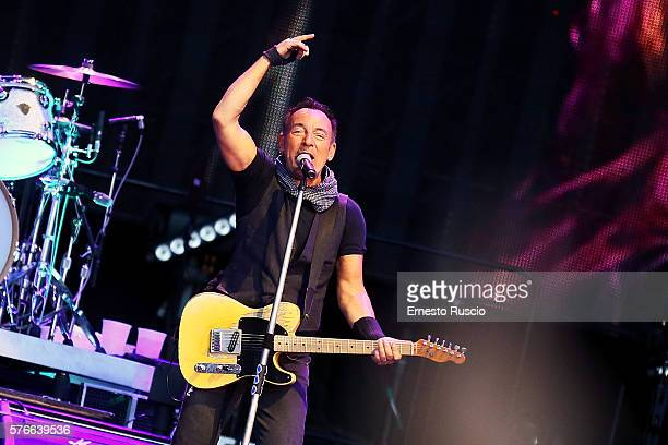 Singer Bruce Springsteen and the E Street Band perform at Circo Massimo on July 16 2016 in Rome Italy