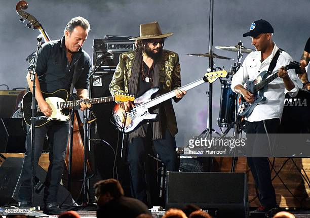 Singer Bruce Springsteen musician Don Was and musician Tom Morello perform onstage at the 25th anniversary MusiCares 2015 Person Of The Year Gala...