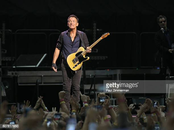 Singer Bruce Springsteen performs onstage during the Bruce Springsteen And The E Street Band In Concert at the Prudential Center in Newark, New...