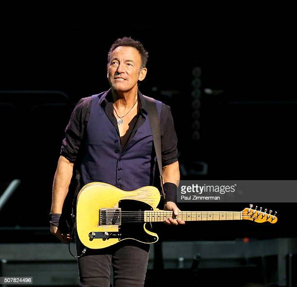 Singer Bruce Springsteen performs onstage during the Bruce Springsteen And The E Street Band In Concert at the Prudential Center in Newark New Jersey...
