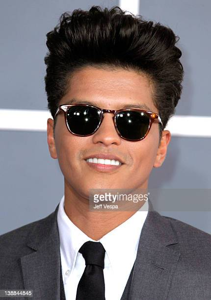 Singer Bruno Mars arrives at The 54th Annual GRAMMY Awards at Staples Center on February 12, 2012 in Los Angeles, California.