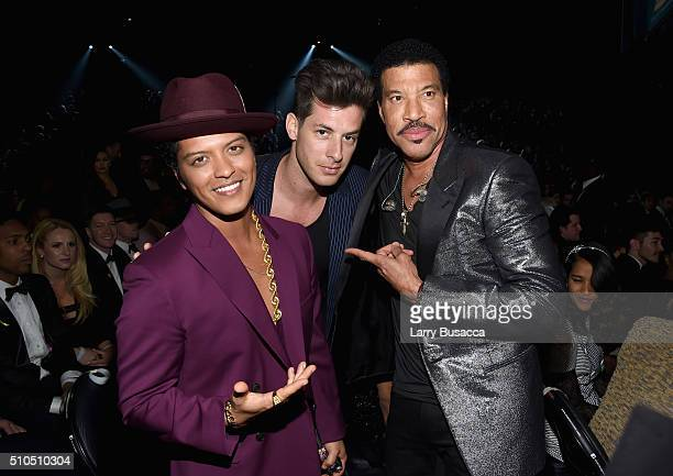 Singer Bruno Mars musician Mark Ronson and singer Lionel Richie attend The 58th GRAMMY Awards at Staples Center on February 15 2016 in Los Angeles...