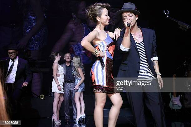 Singer Bruno Mars performs during wedding banquet of Coco Lee and Bruce Rockowitz at Shaw Studio on October 28 2011 in Hong Kong