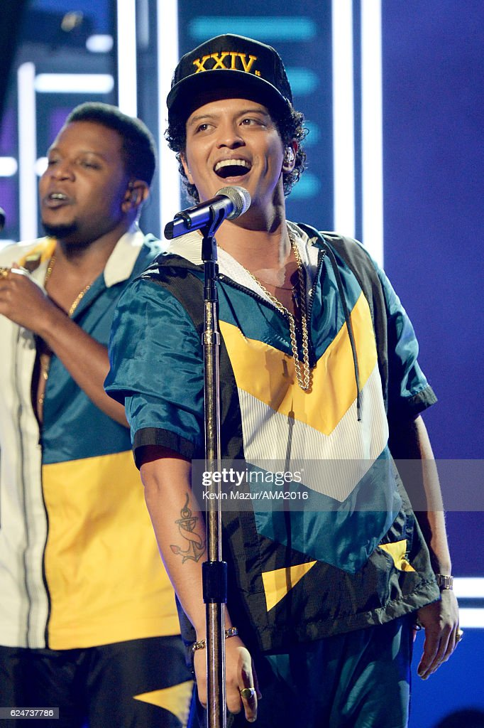 Singer Bruno Mars performs onstage at the 2016 American Music Awards at Microsoft Theater on November 20, 2016 in Los Angeles, California.