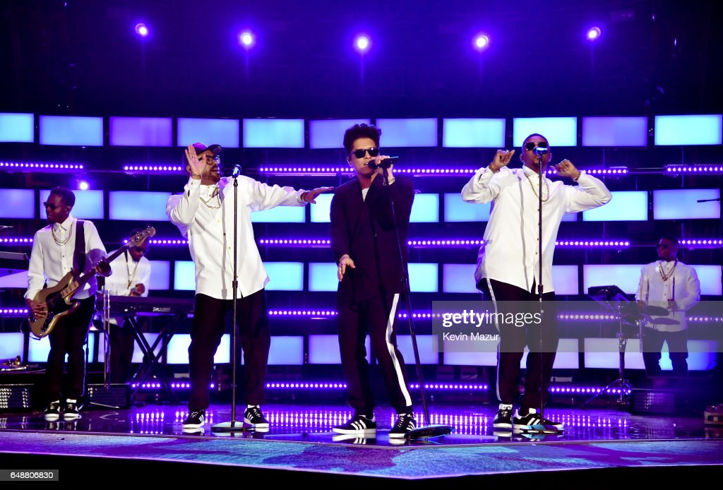 Singer Bruno Mars performs onstage at the 2017 iHeartRadio Music Awards which broadcast live on Turner's TBS, TNT, and truTV at The Forum on March 5, 2017 in Inglewood, California.