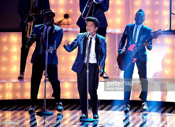 Singer Bruno Mars performs onstage during the 2011 MTV Video Music Awards at Nokia Theatre LA LIVE on August 28 2011 in Los Angeles California