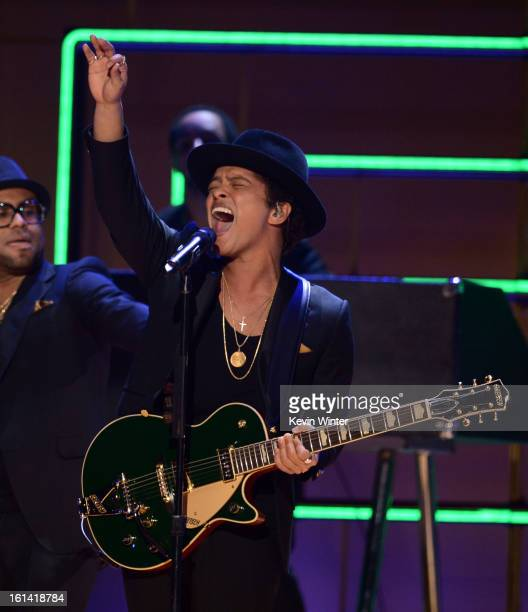 Singer Bruno Mars performs onstage during the 55th Annual GRAMMY Awards at STAPLES Center on February 10 2013 in Los Angeles California