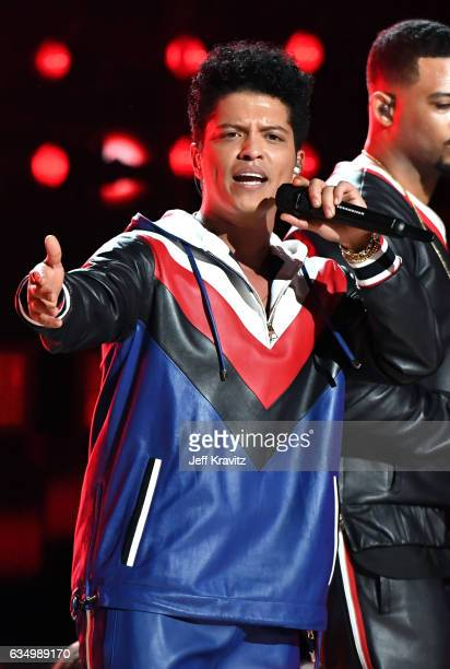 Singer Bruno Mars performs onstage during The 59th GRAMMY Awards at STAPLES Center on February 12 2017 in Los Angeles California