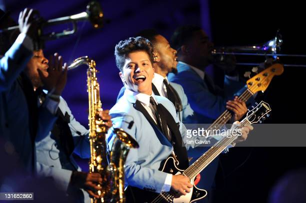 Singer Bruno Mars performs onstage during the MTV Europe Music Awards 2011 live show at at the Odyssey Arena on November 6 2011 in Belfast Northern...