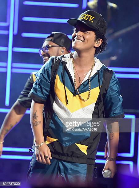 Singer Bruno Mars perfroms onstage at the 2016 American Music Awards at Microsoft Theater on November 20, 2016 in Los Angeles, California.
