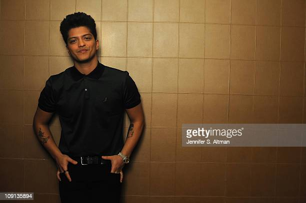 Singer Bruno Mars poses at a portrait session for Los Angeles Times on February 06 2010 in New York New York
