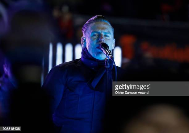 Singer Bryan Adams performs during the second intermission of the 2017 Scotiabank NHL 100 Classic at Lansdowne Park on December 16 2017 in Ottawa...