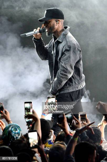 Singer Bryson Tiller performs onstage during the 'Set it Off' tour at The Greek Theatre on August 14 2017 in Los Angeles California