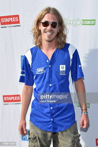 Singer Bucky Covington steps up to strike out cancer at City of Hope's 25th Annual Celebrity Softball Game at First Tennessee Park on June 13 2015 in...