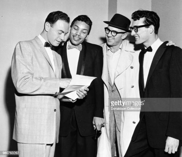 Singer Buddy Holly with Alan Freed and Ben DaCosta and Larry Williams circa 1956 in New York New York