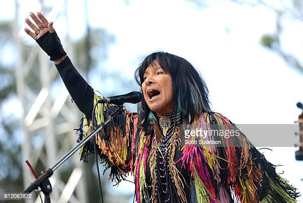 Singer Buffy SainteMarie performs onstage during Hardly Strictly Bluegrass at Golden Gate Park on October 2 2016 in San Francisco California